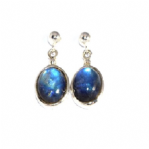 Oval Rainbow Moonstone drop Earrings Silver medium